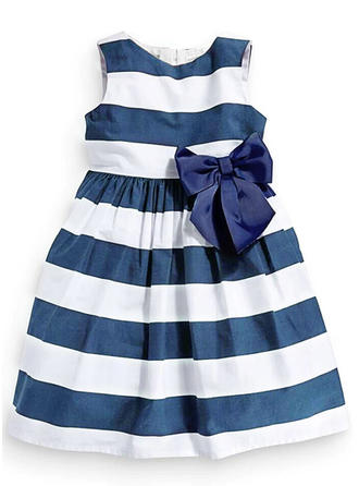Girls Round Neck Striped Bow Casual Cute Dress