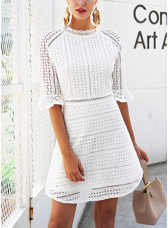 Lace Stand collar Above Knee Sheath Dress