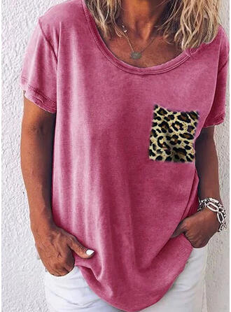 Patchwork Leopard Round Neck Short Sleeves Casual T-shirts