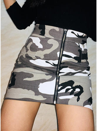 Cotton Print Above Knee Bodycon Skirts