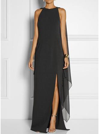 Couleur Unie Manches Fendues Droite Asymétrique Petites Robes Noires/Fête/Élégante Robes
