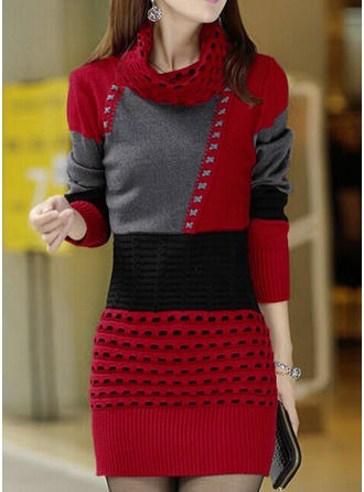 Color-block High Neck Above Knee