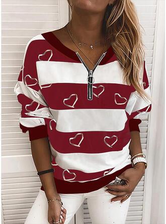 Print Color Block Hjerte V-hals Lange ærmer Sweatshirts