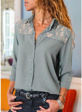 Solid Dantelă Rever Mâneci Lungi Cu nasturi Comodă Cămaşă Tip Bluză
