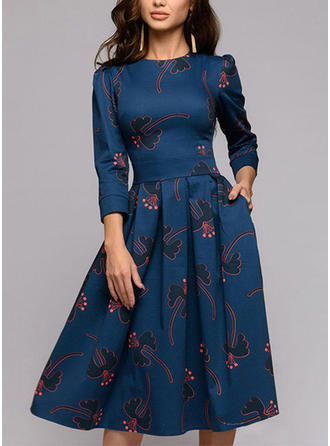 Print Long Sleeves A-line Knee Length Casual/Elegant Dresses