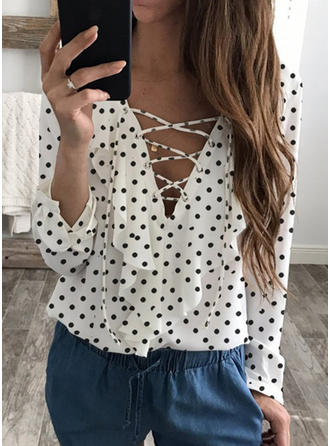 Chiffon V Neck Print 3/4 Sleeves Casual Blouses