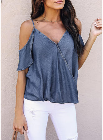 Cotton V Neck Plain Short Sleeves Casual Blouses