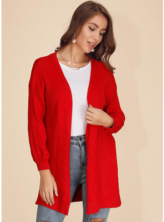 Solid Cable-knit Chunky knit Cardigan