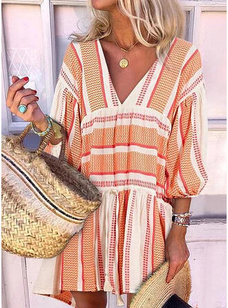Print 3/4 Sleeves/Lantern Sleeve Shift Above Knee Casual/Vacation Dresses
