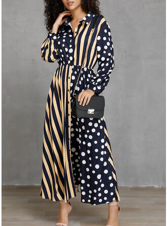 PolkaDot/Striped Long Sleeves A-line Skater Casual/Vacation Maxi Dresses