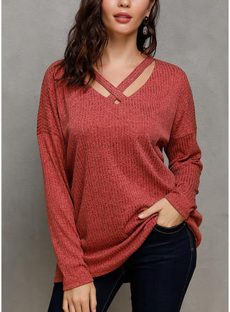 Solid V-neck Long Sleeves Casual Christmas Blouses