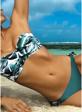 Floral Sin tirantes Cordón Sin Tirantes Elegante Colorido Bikinis Trajes de baño