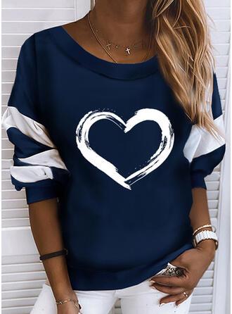 Print Color Block Hjerte rund hals Lange ærmer Sweatshirts