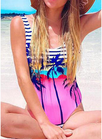 Tropical Print Strap U Neck Sexy One-piece Swimsuits