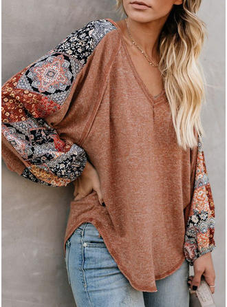 Print Patchwork V-neck Sweaters