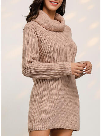 Solid Ribbed Chunky knit Cowl Neck Casual Long Sweater Dress