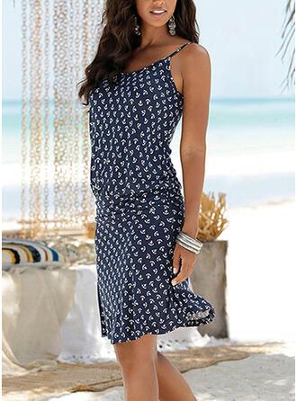 PolkaDot Sleeveless Sheath Knee Length Casual/Vacation Dresses