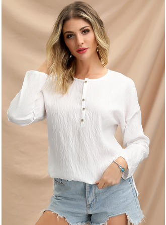 Solid V Neck Long Sleeves Button Up Casual Blouses