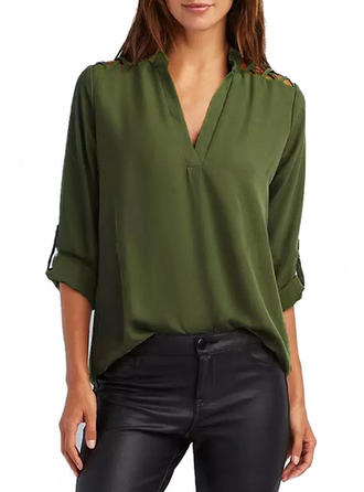 Plain V Neck Long Sleeves Casual Elegant Shirt Blouses