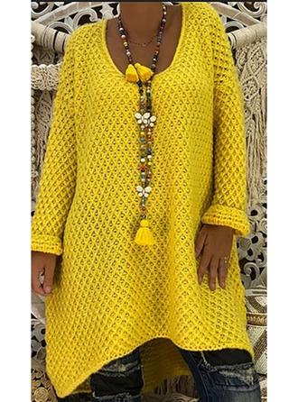 Polyester Coton Col rond Couleur unie Robe Pull