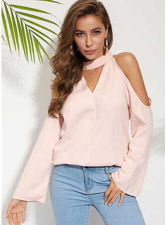 Solid Cold Shoulder Long Sleeves Casual Elegant Blouses
