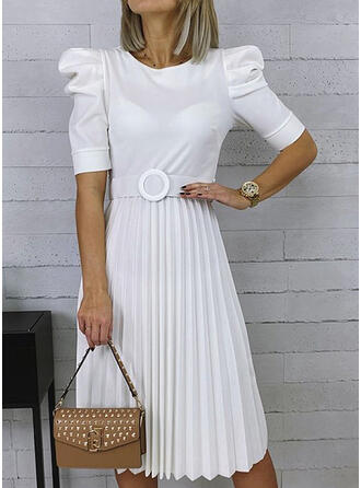 Solid 1/2 Sleeves/Puff Sleeves A-line Casual/Elegant Midi Dresses