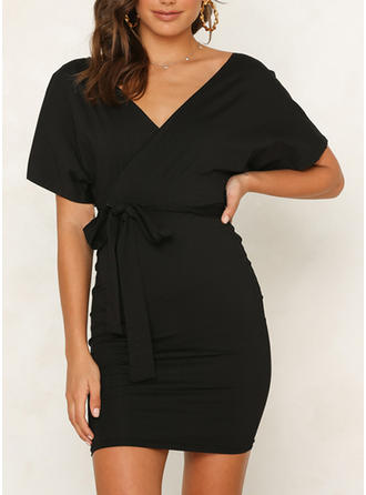 Solid Short Sleeves Bodycon Above Knee Little Black/Casual/Elegant Dresses