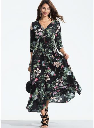 Kwiatowy Litera V Maxi Sukienkę przesunąć