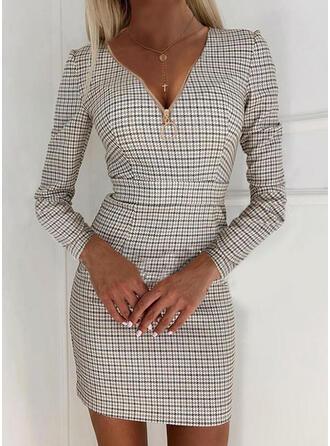 Plaid Long Sleeves Bodycon Above Knee Elegant Dresses