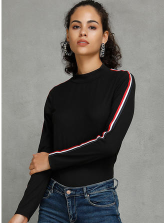 Striped Stand collar Long Sleeves Casual Knit Blouses