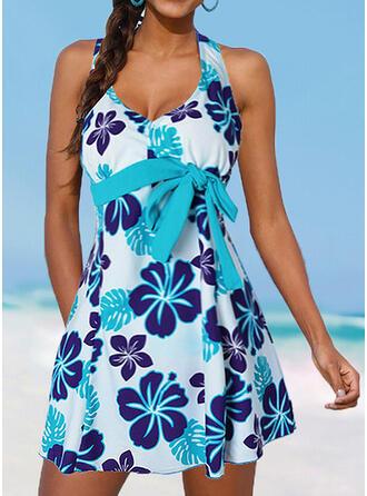 Floral Push Up Bowknot V-Neck Vintage Plus Size Swimdresses Swimsuits