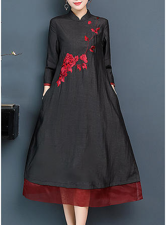 Embroidery 3/4 Sleeves Shift Midi Casual/Elegant Dresses