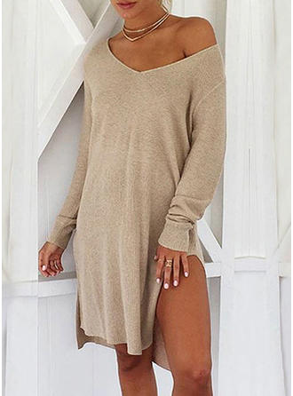 Polyester Cotton Off the Shoulder Plain Sweater Dress