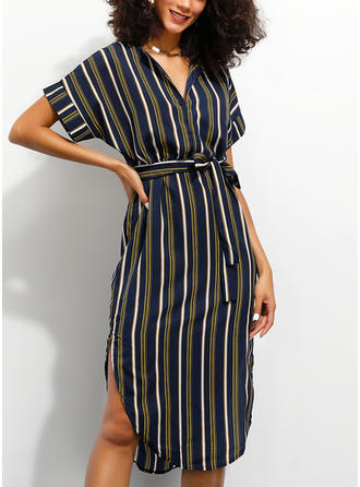 Striped Short Sleeves Sheath Knee Length Casual/Vacation Dresses