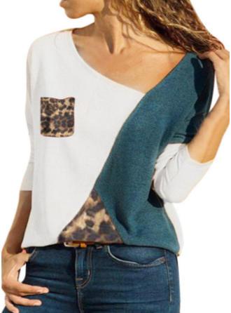 Bawełna Litera V Blok Kolorów Długie rękawy Nieformalny Bluzki