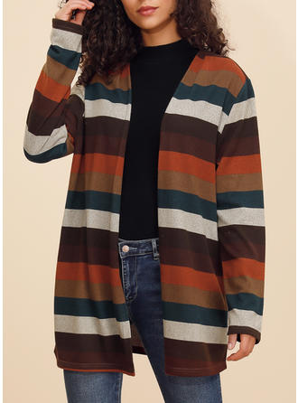 Polyester Long Sleeves Striped Wide-Waisted Coats Cardigans