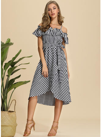 Plaid Short Sleeves A-line Midi Casual/Vacation Dresses