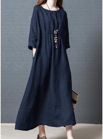 Solid 3/4 Sleeves Shift Casual Maxi Dresses