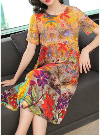 Print Short Sleeves Shift Midi Casual/Elegant Dresses