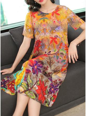 Nadrukowana Krótkie rękawy Koktajlowa Midi Casual/Elegancki Sukienki