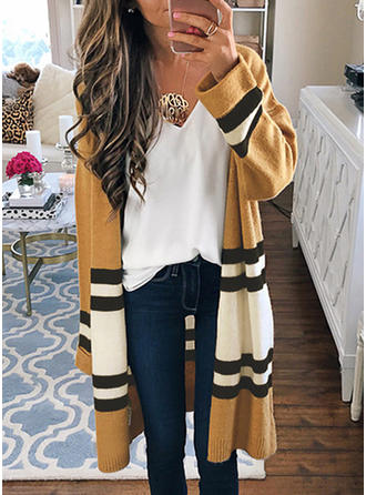 Coton V-neck Striped Cardigan