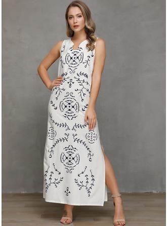 Print Sleeveless Shift Casual/Boho/Vacation Maxi Dresses
