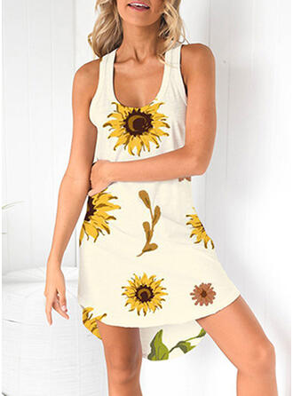 Print/Sunflower Print Sleeveless Sheath Above Knee Casual/Vacation Dresses