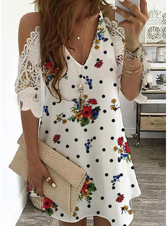Lace/Print/Floral/PolkaDot 1/2 Sleeves/Cold Shoulder Sleeve Shift Above Knee Casual Dresses