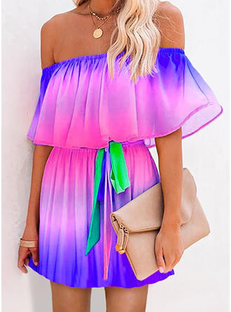 Tie Dye Short Sleeves A-line Above Knee Casual/Vacation Skater Dresses