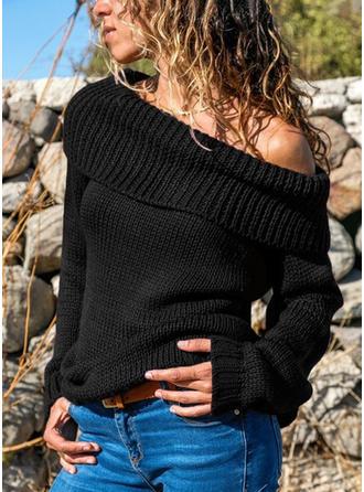 Jednolity Prążkowana dzianina Masywna dzianina Na jedno ramię Swetry