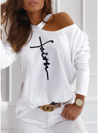 Print Figure One-Shoulder Long Sleeves Casual Blouses