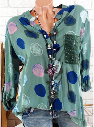 Polyester Round Neck Print Long Sleeves Casual Blouses