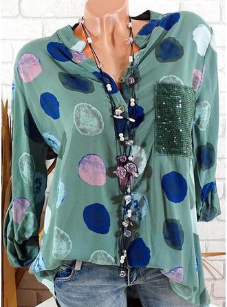 Poliester Okrągły Dekolt Wydrukować Długie rękawy Nieformalny Bluzki
