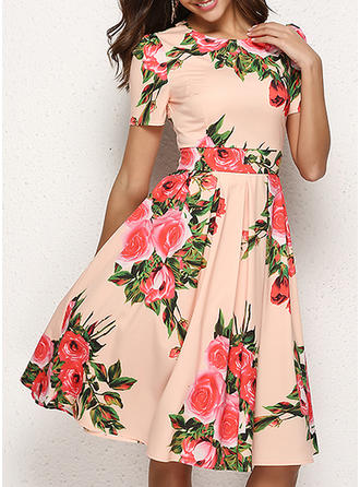 Print/Floral Short Sleeves A-line Knee Length Casual/Elegant Dresses